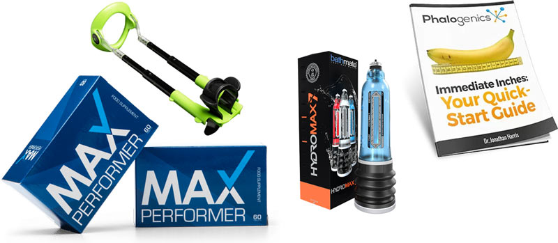 Max performer can be used with a penis extender, penis pump or with penis exercises